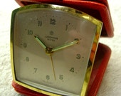 Junghans Bivox Travelling Alarm Clock in Red Leather Case