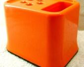 Retro Orange Plastic Desktop Organiser