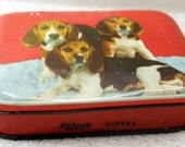 Vintage Tin - Riley's Toffee Tin - Beagles on a Red Background