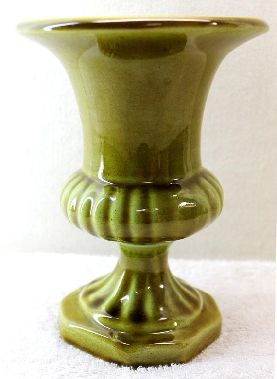 Green Ceramic Urn - Vase or Planter - Signed Kerryl, Melbourne - 20% Off Sale