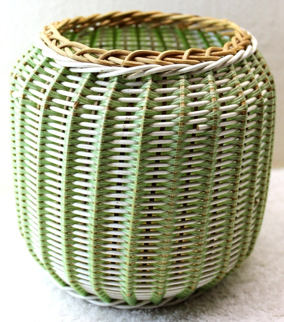 Green and White Wicker and Plastic Basket - Planter