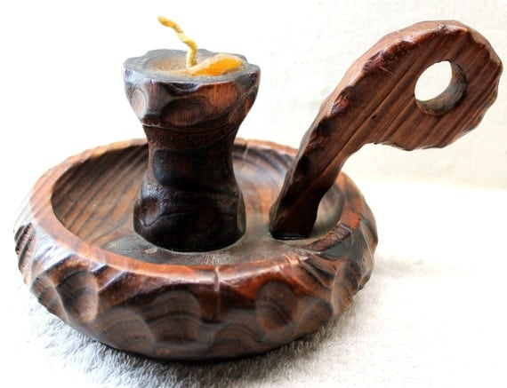 Retro Wooden Candle Holder - Wee Willie Winkie - 50% Off Sale