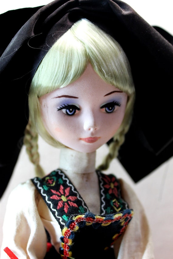 Blonde Cloth Doll on Plastic Stand