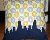 Yellow, Gray, White & Navy Blue CHICAGO THROW PILLOW, Spring Flowers, 14x14
