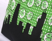 Chicago Skyline Pillow for St Patricks Day, Shamrock Green, White & Black, 14x14