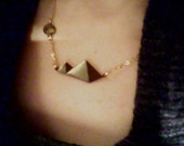 Pyramid necklace gold plated chain and titanium 45cm length plus watercolour painting