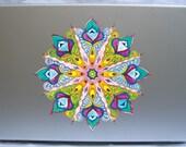"Peacock mandala- A 7"" vinyl macbook and laptop sticker decal skin"