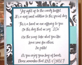 Handmade Candy Buffet Poem Sign for Your Wedding in Teal and Aqua OOAK Free Shipping