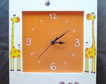 Cream And Orange Wall Clock With Giraffes Painting