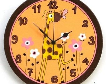 Wooden Wall Clock Painted With Giraffe And Flowers