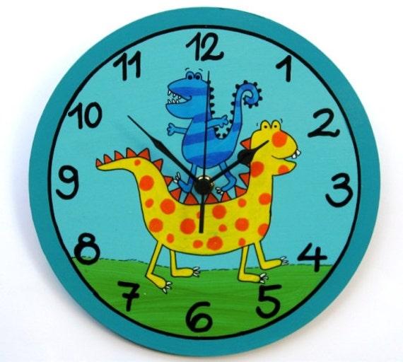 Dino the dinosaur wall clock for children 39 s room nursery for Kids room clock