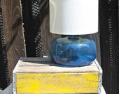 Modern Retro Vintage Blue glass round lamp