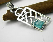 Sterling silver modernist pendant with raw apatite abstract stone,christmas sale ,10% off for (11/28-12/4)