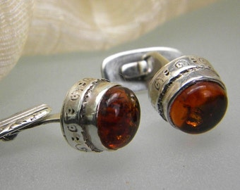 Sterling silver cufflinks antique style with amber mens jewelry cuff links art nouveau, handcrafted jewelry