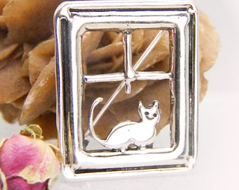 Sterling silver cat brooch pin cat on window frame,handmade cat jewelry, gift for cat lovers