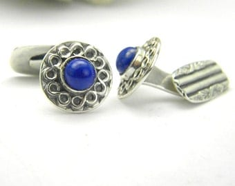 Silver cufflinks lapis lazouli Sterling silver antique style round cuff links blue gemstone men's gift rustic jewelry
