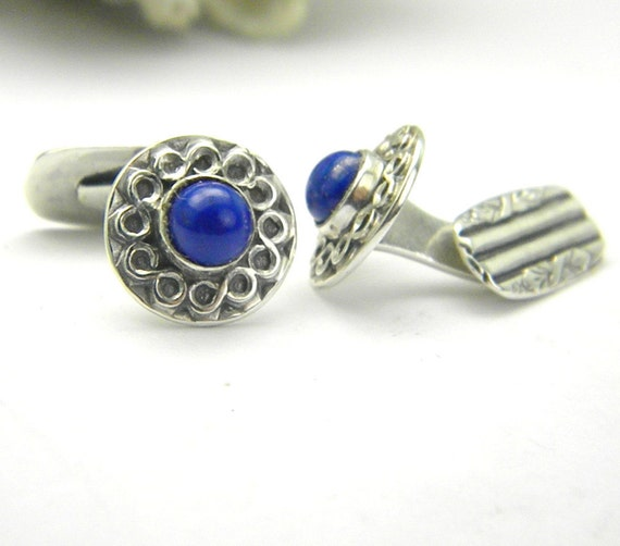 cufflinks lapis lazouli Sterling silver antique style round -cuff links-