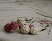 CLEARANCE Diamond Rose Pink and Ivory Textile Earrings, Crocheted Bead Cluster Dangle Earrings