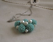 March SALE 20% off Crochet Bead and Pearl Turquoise Textile Pendant, Chunky Fashion Statement