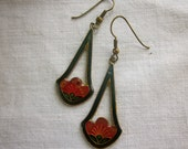 CLEARANCE Vintage Cloisonné or Lookalike Trapeze style Flower Earrings, Gold, Orange Red Green Blue