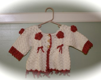 Pattern PDF for Crochet Baby Sweater, Cardigan Victorian Pink Roses