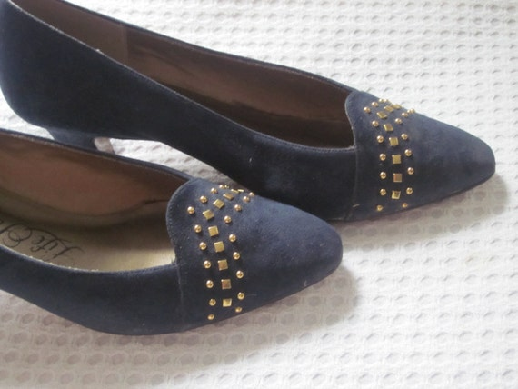 REDUCED Blue, Navy Suede Vintage Heels, Pumps, Dress Shoes with Gold Stud Accents, Size 8.5