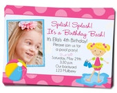 Printable Pool Party Invitation Pool Party Invite Pool Party Birthday