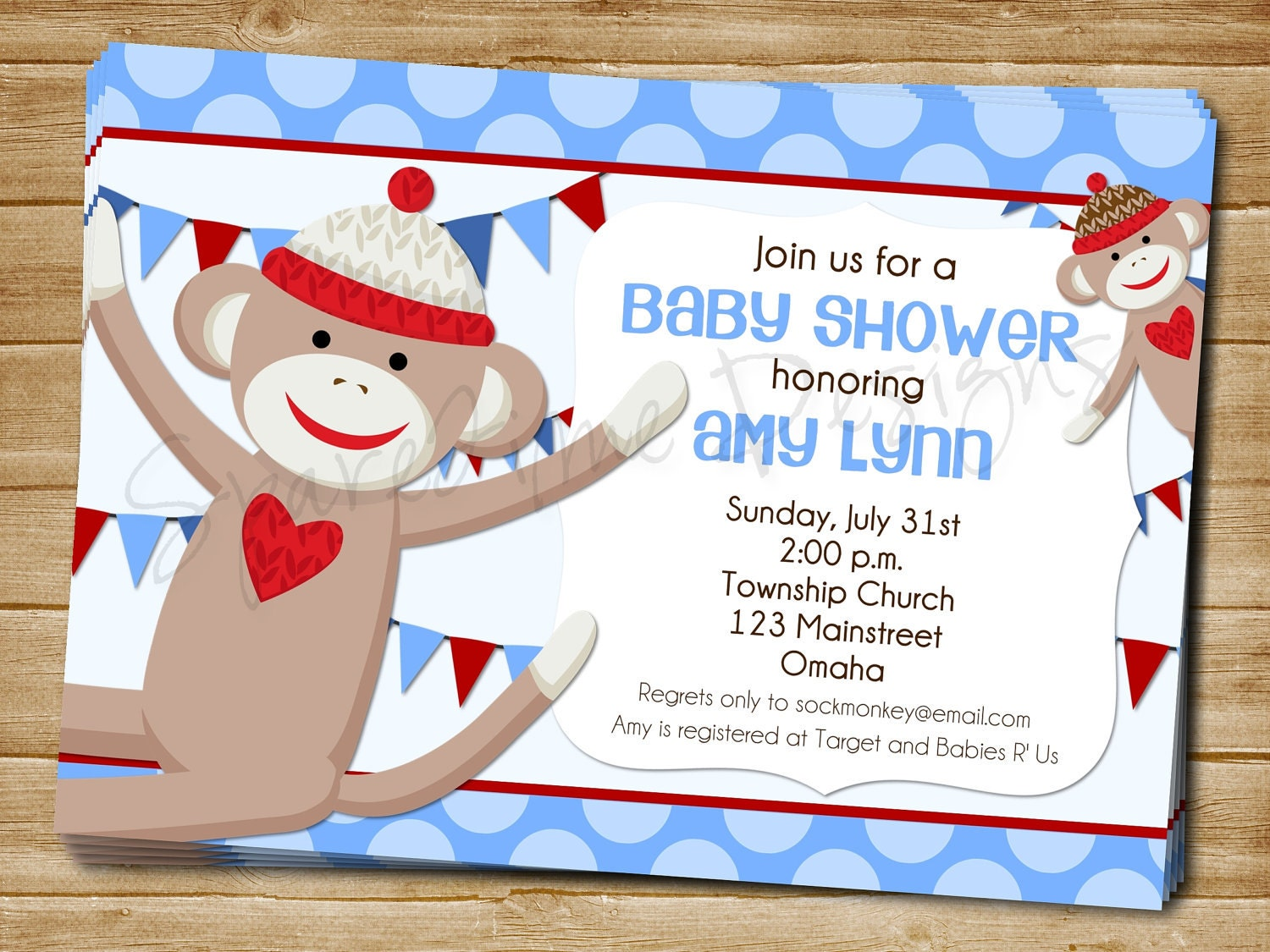 printable sock monkey baby shower invitation by einkstudio