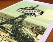 Bojour Eiffel Tower Art Print from Cartolina - CC207