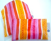 SNACKABY reuseable eco friendly dishwasher safe reusable sandwich and snack bag set Pink Orange Red Stripe