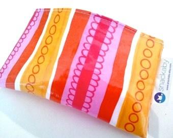 Dishwasher-safe reusable snack bag Pink Orange Stripe