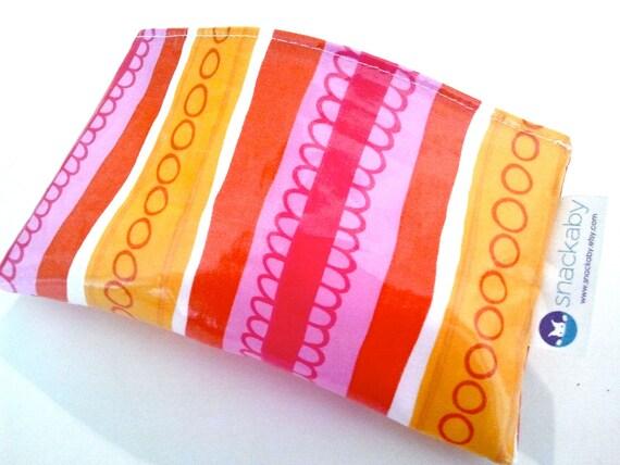 SNACKABY reusable eco friendly dishwasher safe reuseable snack bag Pink Orange Red Stripe