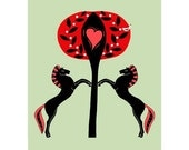 Two Handmade Love Themed Greetings Cards Valentine Black Horses Graphic Art Tree