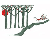 Original Pen And Ink Drawing Folk Art Illustration Stylised Trees Bird Black Red