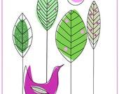 Forest bird art print, Modern bird illustration, Forest trees landscape, Purple green white, Typography, Bird and trees in woodland, Birds
