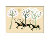 A4 Stylised Print Black Deer Cream Landscape With Trees Whimsical Quirky Folk Art