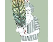 Art Illustration Drawing Print Digital Artwork Green Woman With Tree Ink Art, Folk Art, Stylised Art, Narrative Art Bird Art