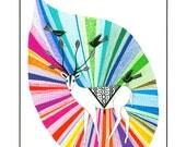 Modern Art Print, Multicolored Art, Ink Illustration, Artwork Print, 10 x 8, Deer, Animal Drawing, Rainbow Art,  Wall Art