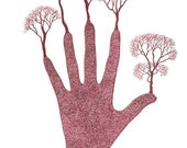 Original Pen And Ink Drawing Trees Hand Growth Ink Art Brown Ink Mythical Art Symbolism