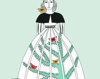 "10"" x 8"" Art Illustration Drawing Print Stylised Contemporary Birds Bird Gardener Woman With Birds Narrative Birds On Tree Mint Green"