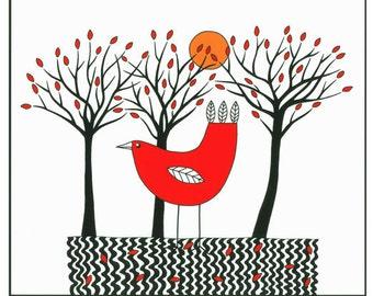 10 x 8, Art illustration, Red bird, Graphic art,  Ink art, Nature print, Bird with trees, Tree drawing, Bird drawing, Modern wall art, Folk