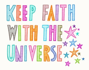 Original Drawing Art Illustration Inspirational Hand Drawn Typography Multicoloured Universe Font Stars