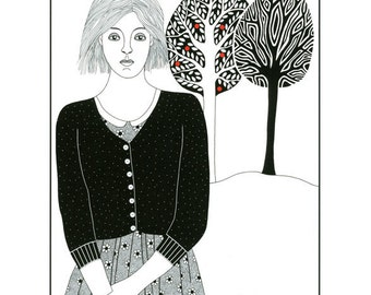 10 x 8 Ink Illustration Print Drawing Ink Art Woman Stylised Trees Graphic Black And White Art