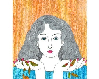 Art Illustration Print A4 Woman Holding Leaves Turquoise Orange Peach Modern Folk Drawing Ink And Watercolour Drawing Symbolism