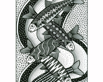 Fine art graphic design print, Fish drawing in black and white, Graphic art fish drawing, Pen and ink drawing of fish, Black And White art