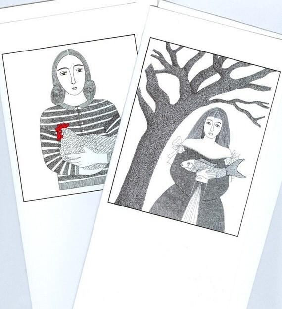 Two Handmade Greetings Cards