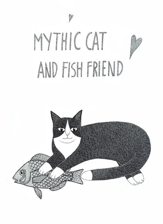 Original Drawing Ink Folk Modern Black Cat With Fish Myth Contemporary Stylised Hand Drawn Typography