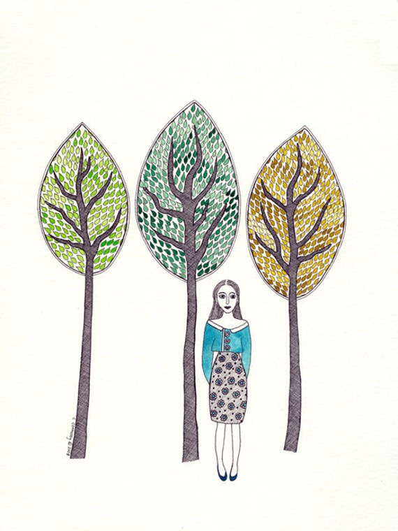 Original Ink And Watercolour Illustration Woman Trees Blue Yellow Green