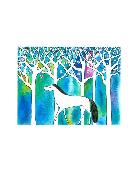 Art illustration painting of horse, 10 x 8  art print, White horse, Animal art, Mystical, Blue green, Landscape watercolor print