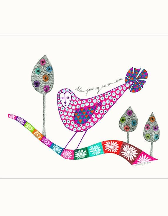 Original Illustration, Original Art, Original Drawing, Stylised Bird, Nature, Garden, Multicoloured Hand Drawn